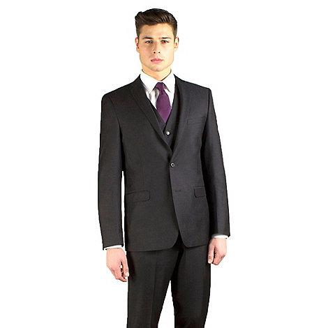 Red Herring - Dark charcoal semi-plain slim fit 2 button jacket