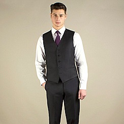 Red Herring - Dark charcoal semi-plain slim fit waistcoat