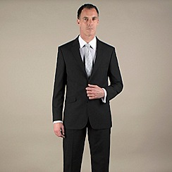 Karl Jackson - Black plain weave tailored fit 2 button suit