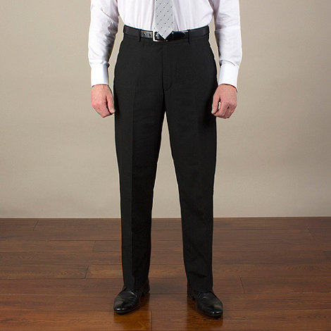 Karl Jackson - Black plain weave tailored fit trouser