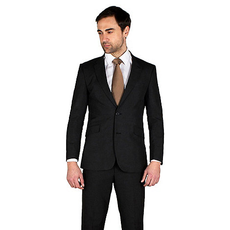 Karl Jackson - Charcoal plain weave tailored fit 2 button jacket