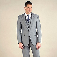 Karl Jackson - Silver grey semi-plain tailored fit 2 button jacket