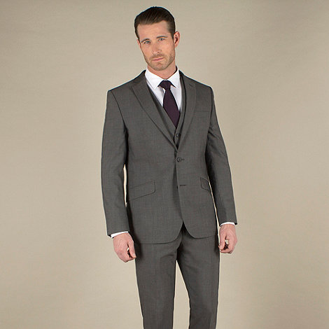 Stvdio by Jeff Banks - Charcoal mohair-look tailored fit 2 button jacket