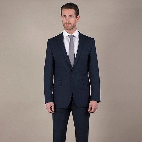 Stvdio by Jeff Banks - Blue plain weave tailored fit 1 button jacket