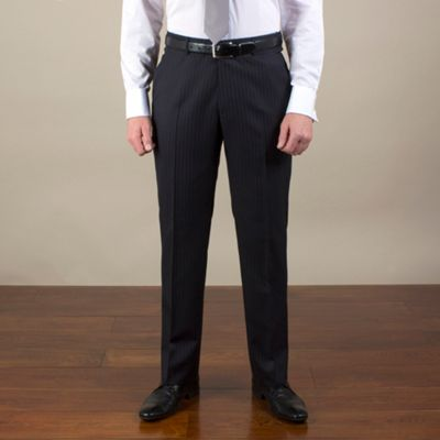 Jeff Banks Navy stripe regular fit trouser - . -
