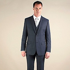 Jeff Banks - Blue semi-plain regular fit 2 button 3 piece suit