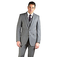 BEN SHERMAN - Silver grey semi-plain slim fit 2 button jacket