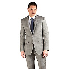 BEN SHERMAN - Taupe/purple check slim fit 2 button jacket
