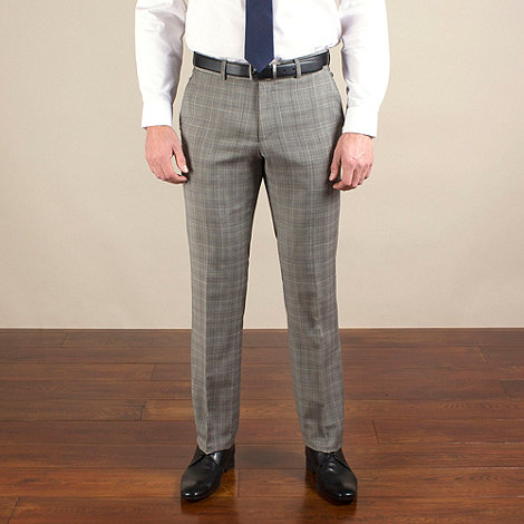 Ben Sherman - Taupe/purple check slim fit 2 button trouser