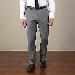 BEN SHERMAN - Grey/red prince of wales check slim camden fit trouser