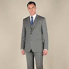 Jeff Banks - Grey prince of wales check regular fit 2 button 3 piece suit