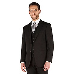 Jeff Banks - Black plain weave regular fit 2 button travel 3 piece suit