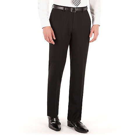 Jeff Banks - Black plain weave regular fit travel suit trouser