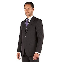 Jeff Banks - Charcoal plain weave regular fit 2 button travel 3 piece suit