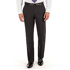 Jeff Banks - Charcoal plain weave regular fit travel suit trousers