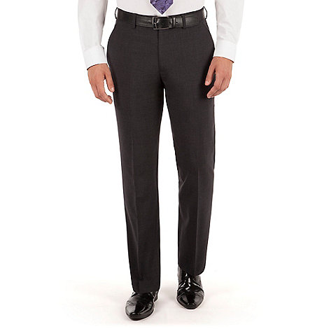 Jeff Banks - Charcoal plain weave regular fit travel suit trouser