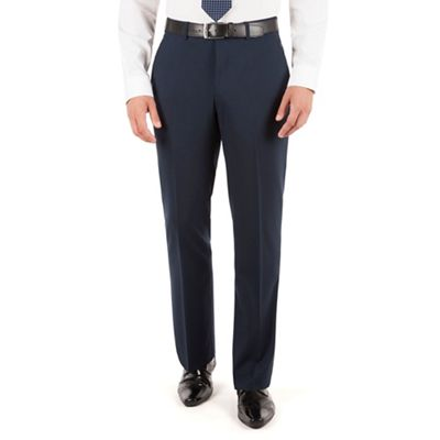 Jeff Banks Navy plain weave regular fit travel suit trouser