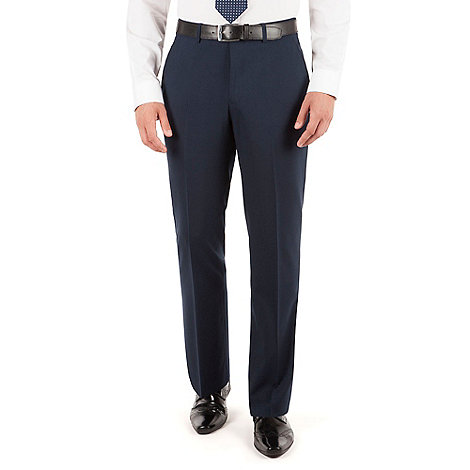 Jeff Banks - Navy plain weave regular fit travel suit trouser