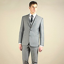 Red Herring - Silver grey semi-plain slim fit 2 button 2 piece suit