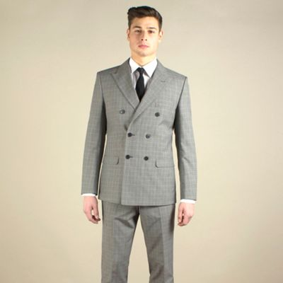 Red Herring Taupe check slim fit 2 button jacket - . -