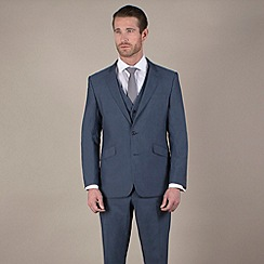 Karl Jackson - Blue semi-plain tailored fit 2 button suit