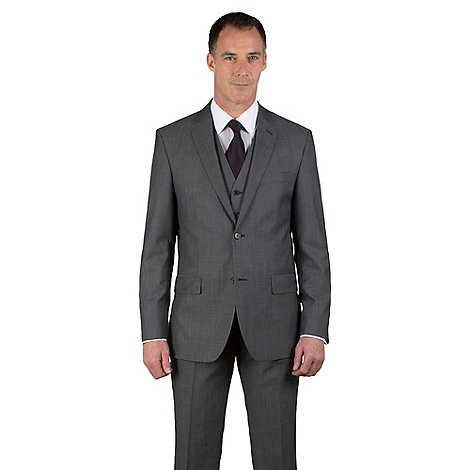 Jeff Banks - Grey tonic regular fit 2 button black label jacket
