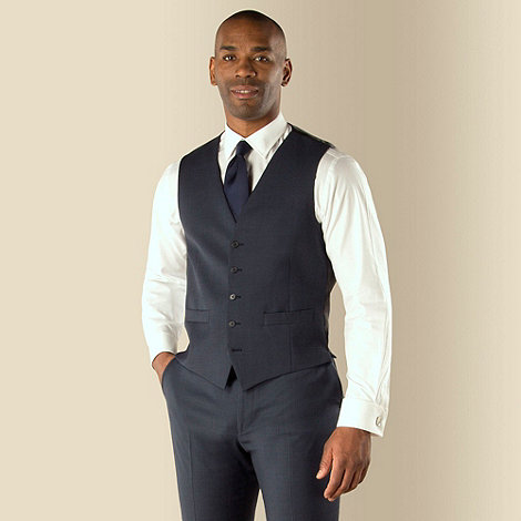Centaur Big & Tall - Big & tall blue semi-plain regular fit waistcoat
