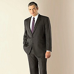 Centaur Big & Tall - Big & tall grey herringbone regular fit 2 button 3 piece suit
