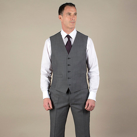 Jeff Banks - Grey tonic regular fit 5 button waistcoat