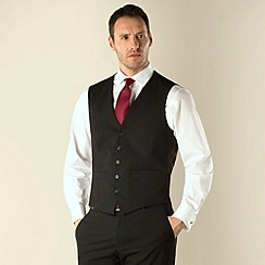 Jeff Banks - Black plain weave regular fit travel waistcoat