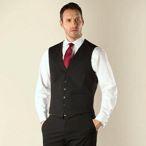 Jeff Banks - Black plain weave regular fit travel waistcoat