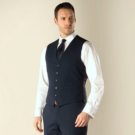 Jeff Banks - Navy plain weave regular fit travel waistcoat