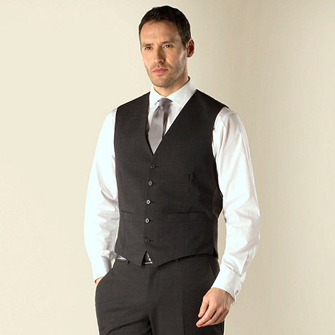 Jeff Banks - Charcoal plain weave 5 button travel suit waistcoat