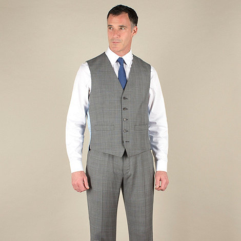 Jeff Banks - Grey check 5 button luxury tailoring waistcoat