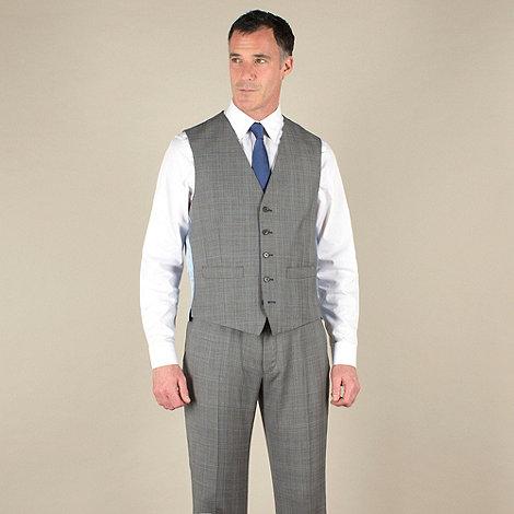 Jeff Banks - Grey check 5 button luxury tailoring waistcoat