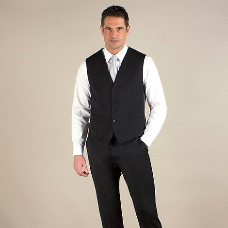 Stvdio by Jeff Banks - Black twill tailored fit waistcoat