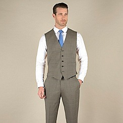 Stvdio by Jeff Banks - Taupe check slim fit 5 button waistcoat