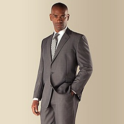 Centaur Big & Tall - Big & tall grey semi-plain regular fit 2 button 3 piece suit
