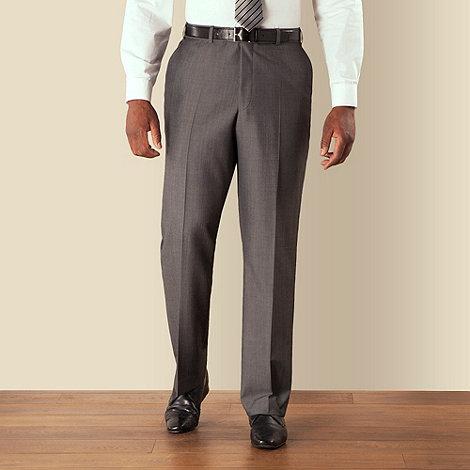 Centaur Big & Tall - Big & tall grey semi-plain regular fit trouser