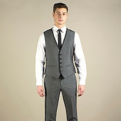 Red Herring - Charcoal semi-plain slim fit waistcoat