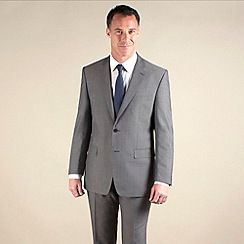 Racing Green - Grey stripe regular fit 2 button suit