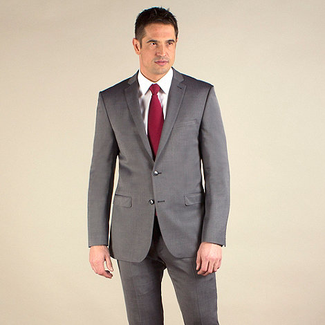 Racing Green - Grey semi-plain regular fit 2 button jacket