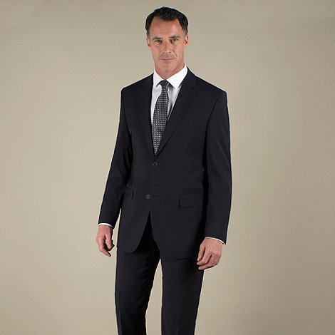 Jeff Banks - Navy plain weave travel plus regular fit 2 button jacket