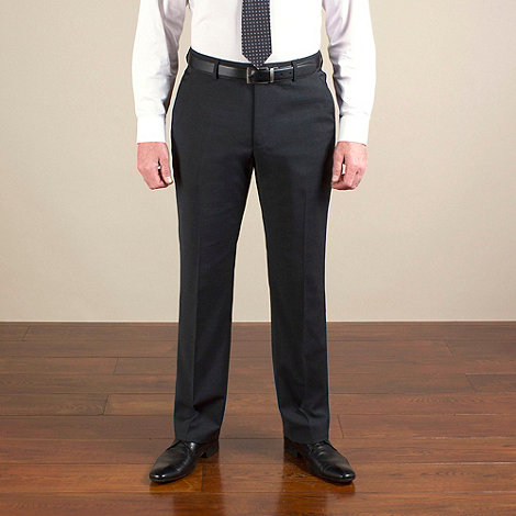 Jeff Banks - Charcoal plain weave travel plus regular fit trouser