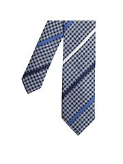 Blue hounds tooth stripe tie