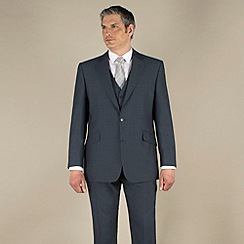 Centaur Big & Tall - Blue mohair look 2 button washable suit