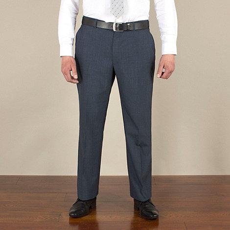 Centaur Big & Tall - Big & tall blue mohair-look regular fit trouser