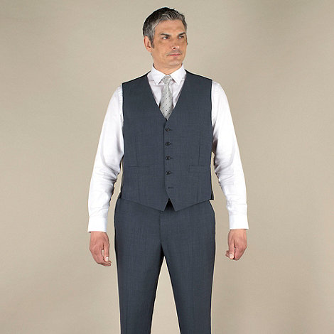 Centaur Big & Tall - Big & tall blue mohair-look regular fit waistcoat