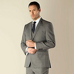Racing Green - Grey sharkskin semi-plain regular fit 2 button 3 piece suit