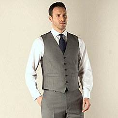 Racing Green - Grey sharkskin semi-plain regular fit 5 button waistcoat